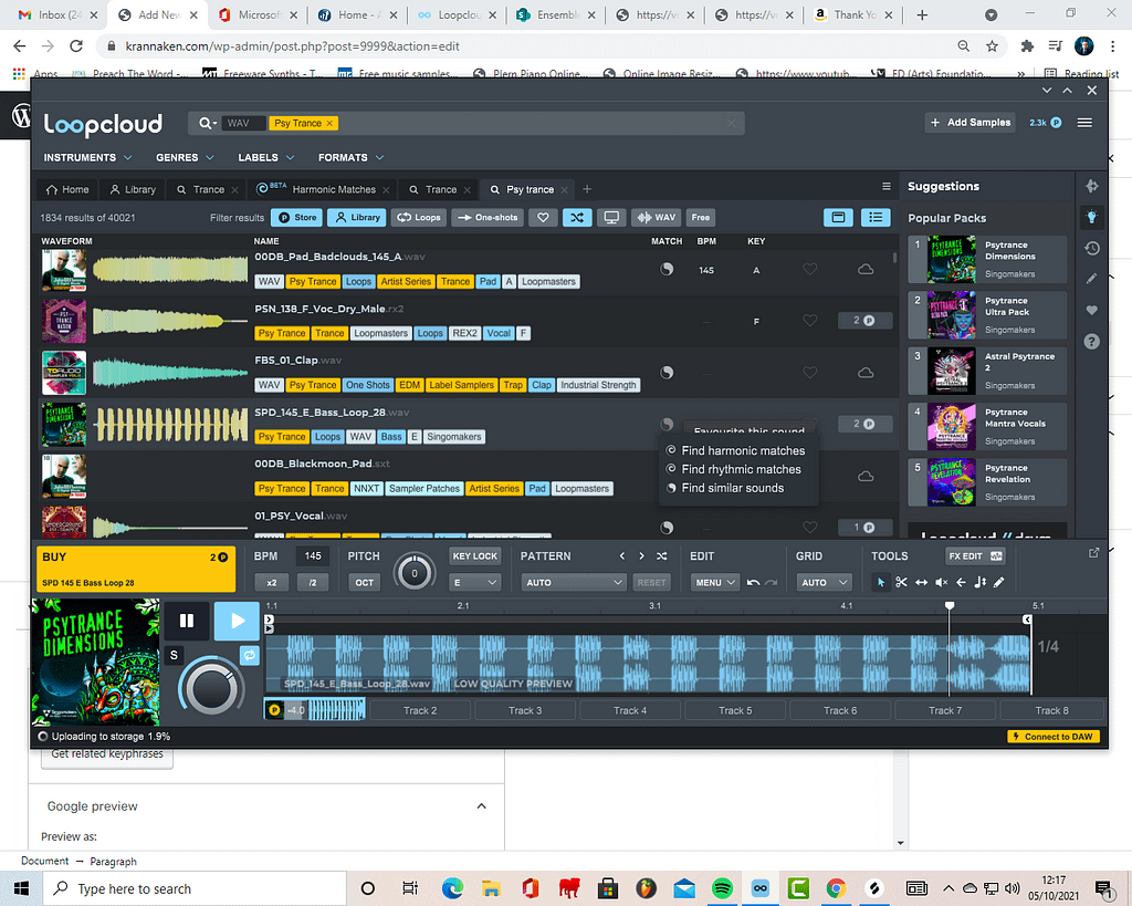 A screen shot showing the harmonny and rhythm matcher on LoopCloud 6.  LoopCloud is a part of the same company as Loopmasters for music production